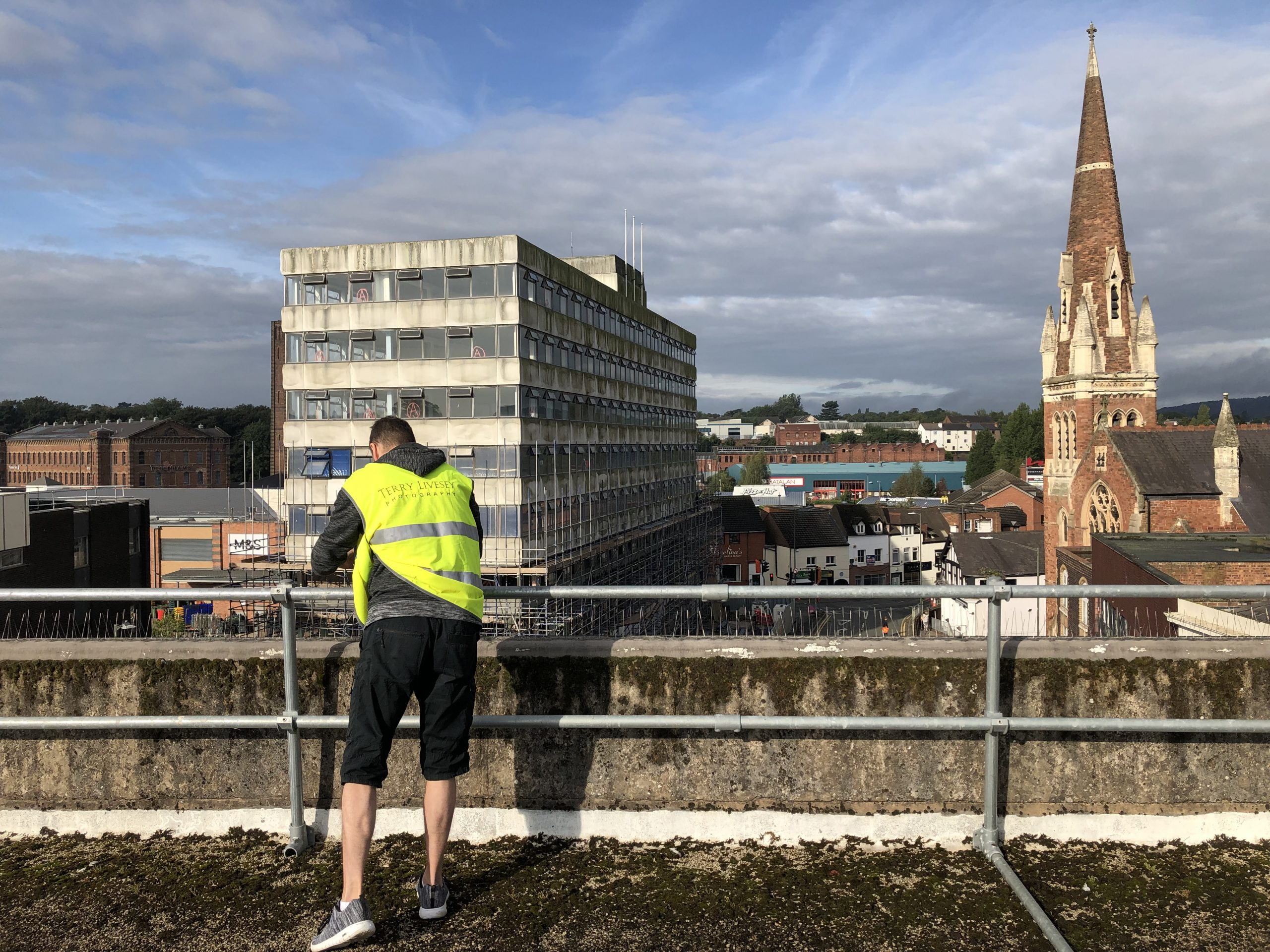 Terry setting up the camera for the Crown House in Kidderminster demolition